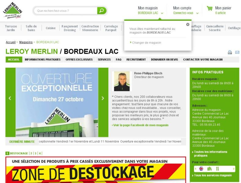 Choix magasin Leroy Merlin - web-to-store