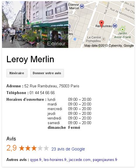 Google + Local Leroy Merlin - web-to-store