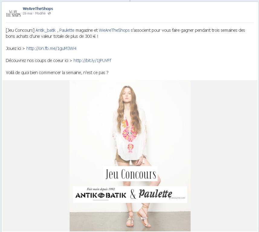 Concours Facebook - We Are The Shops